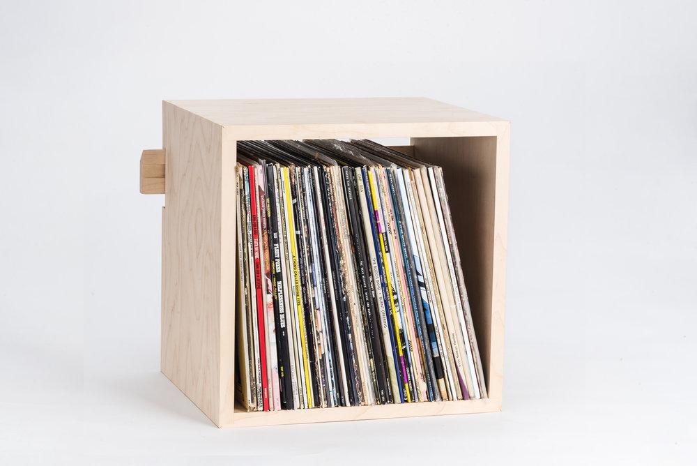 Deep Cut Record Shelf in Hard Maple
