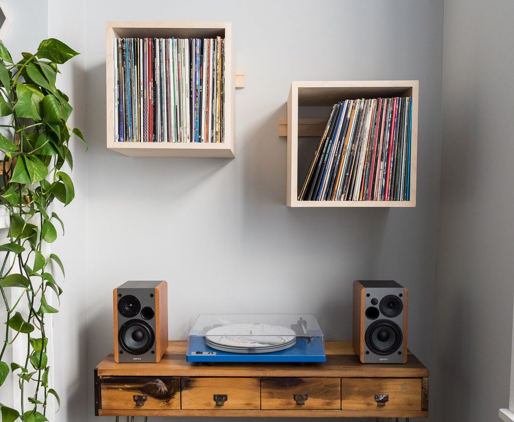 Deep Cut Record Shelves - Hard Maple - Minimalist Set Up - Front View Landscape Close 2.jpg