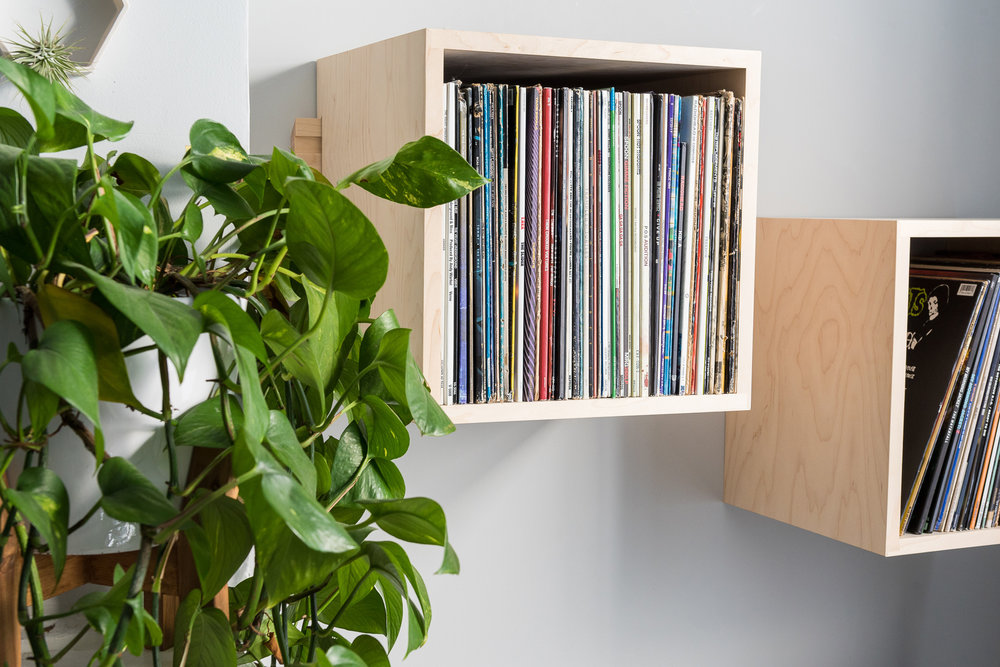 Deep Cut Record Shelves - Hard Maple - Minimalist Set Up - Front View Left Close.jpg