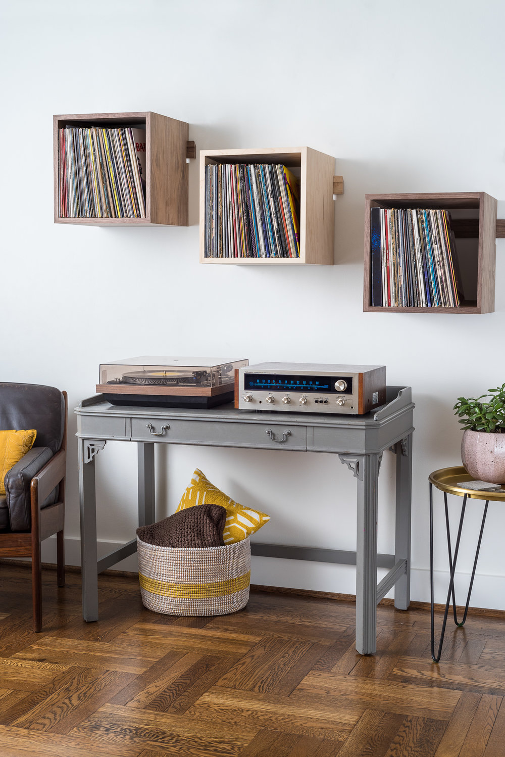 Deep Cut Record Shelves - Mid-Century Setup - Front Side View.jpg