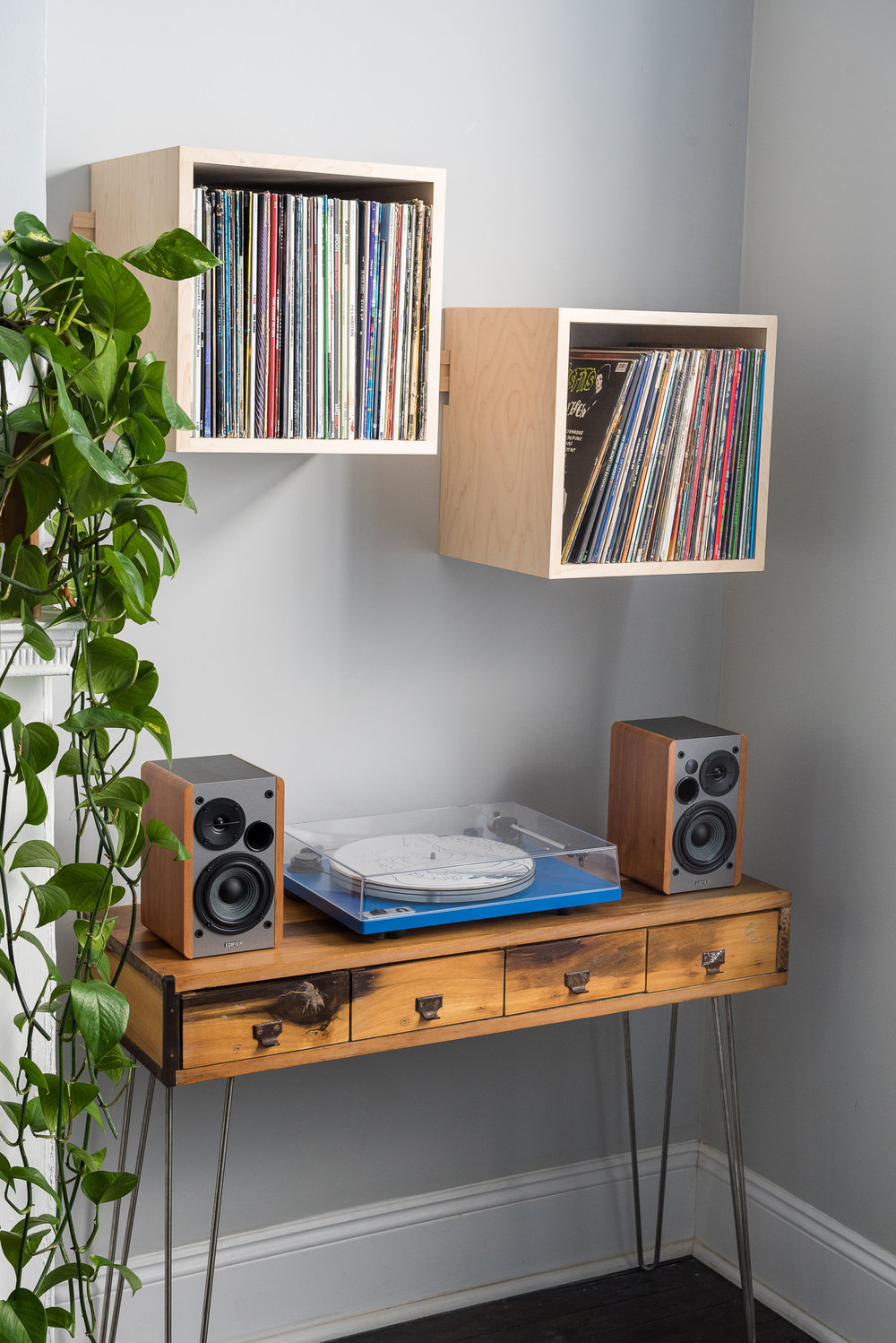 Deep Cut Record Shelves - Hard Maple - Minimalist Set Up - Front View Left.jpg