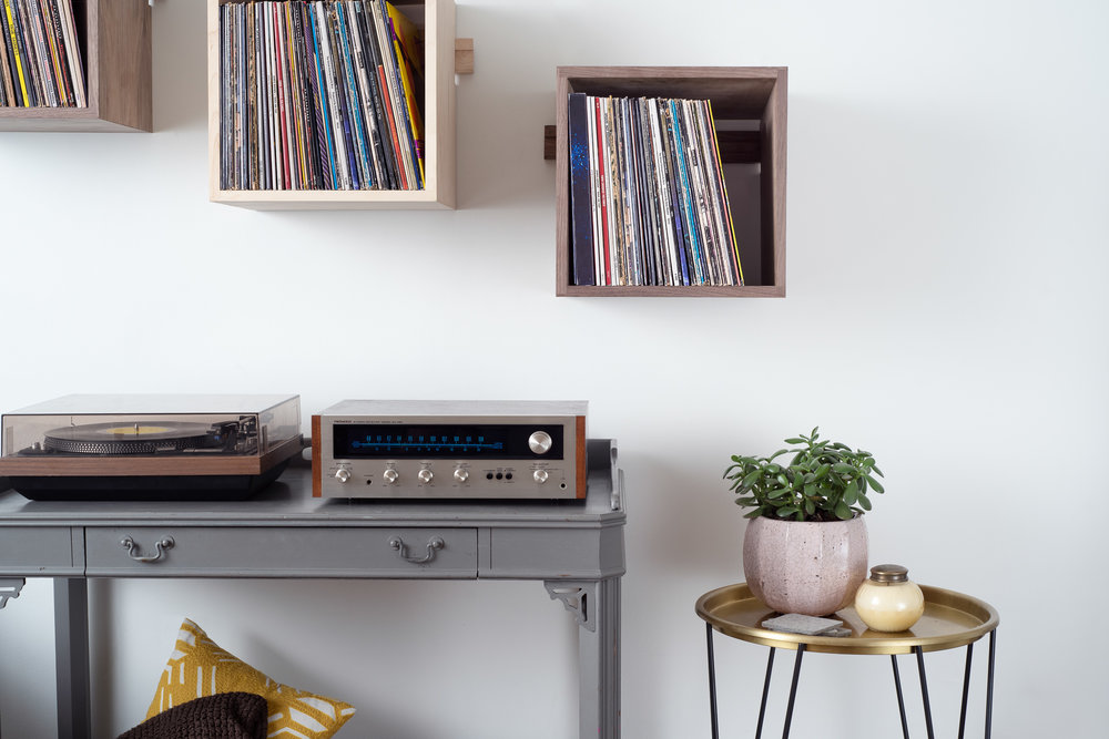 Deep Cut Cube Shelves in Hard Maple and Walnut