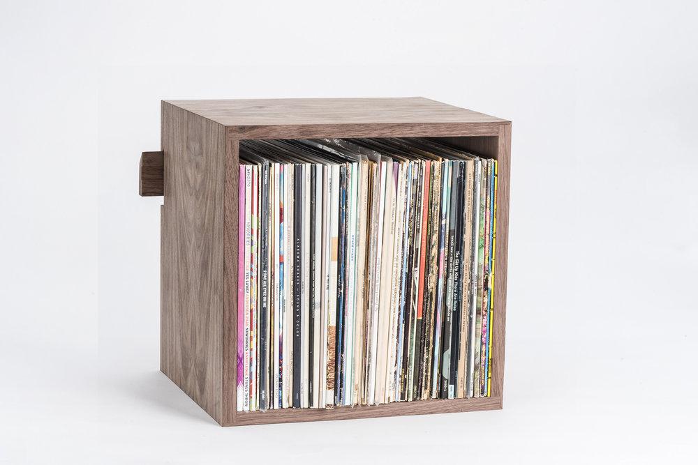 Deep Cut Cube Shelves in Walnut
