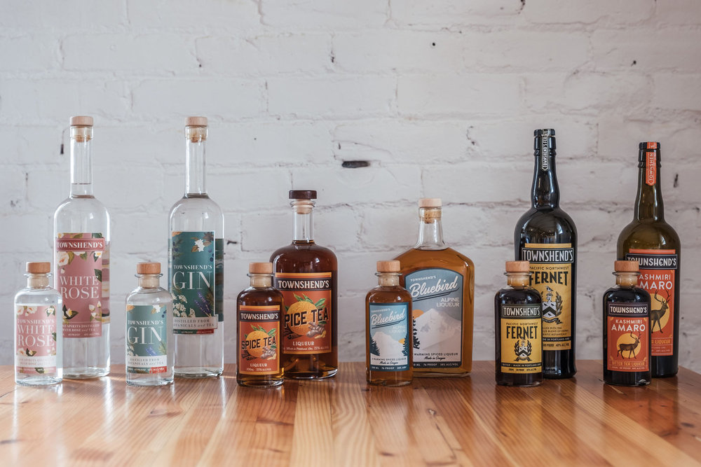 The impressive collection of craft spirits from Townshend Distillery in Portland, OR