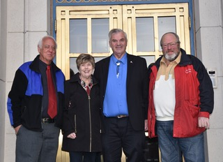 Juneau's previous mayors support Don Etheridge for State Senate Seat Q - From Left to Right: Mayor Ken Koelsch, Mayor Mary Becker, Don, and Mayor Merrill Sanford