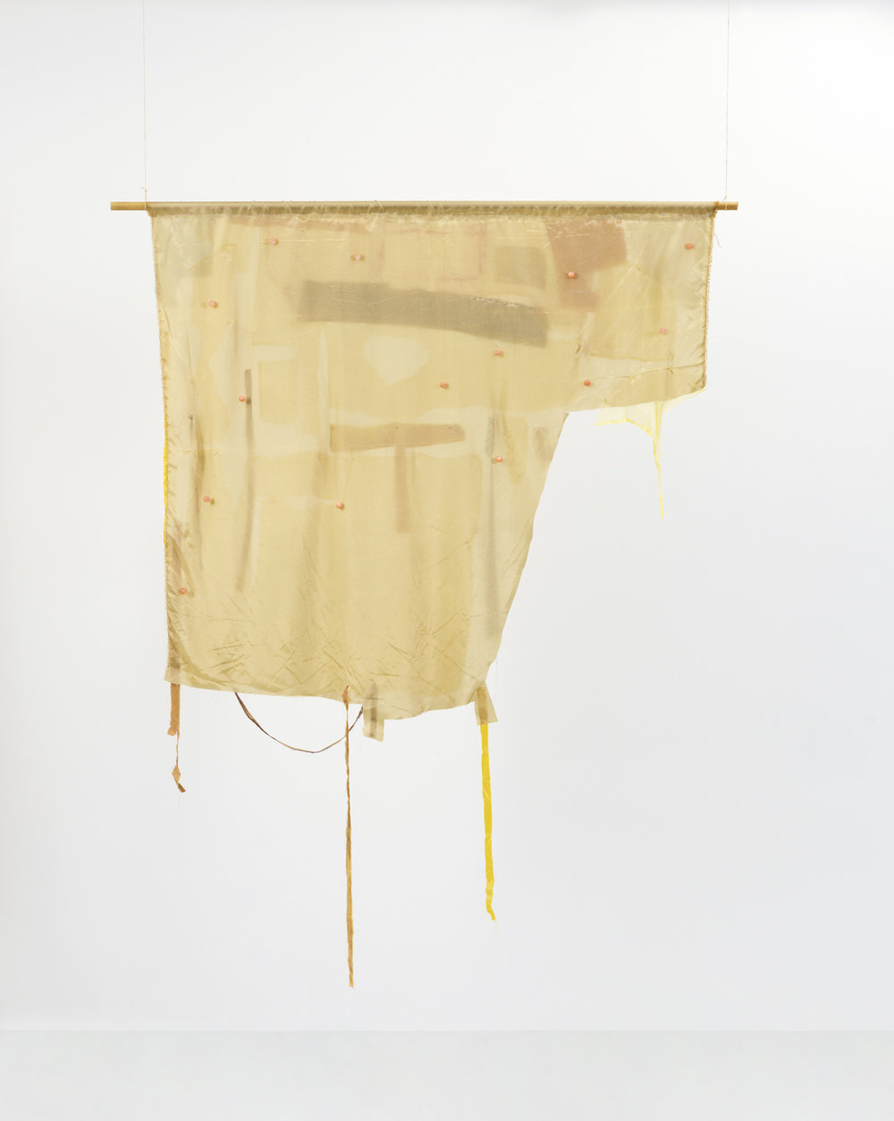 - 27. PRICE: € (EUR) 4.000. Peter Brandt. Yes and More No, 2016-17. Sculptural two-sided banner, applicated fabric, embroidery, pearls, oil paint, pencil and wood. 193 x 135 x 2 cm.