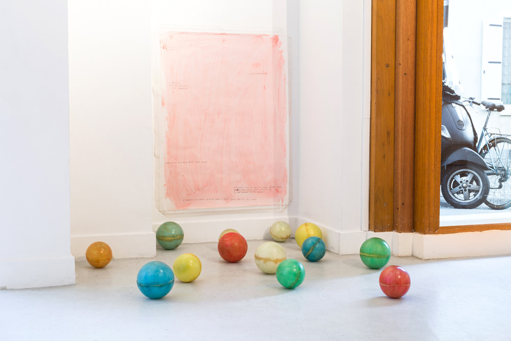 - 29. Peter Brandt. Rabbit Hole, 2017. Oil paint and pencil on canvas, 80 x 60 cm. 6 fiberglass spheres 13 x 13 x 13 cm. 6 fiberglass spheres 10 x 10 x 10 cm.