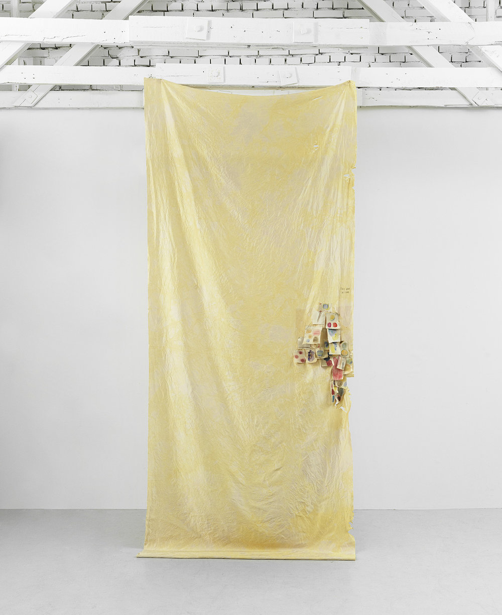 Peter Brandt. Monument to Sexual Violence, 2018. Bleached silk, watercolor and pencil. 330 x 135 cm.