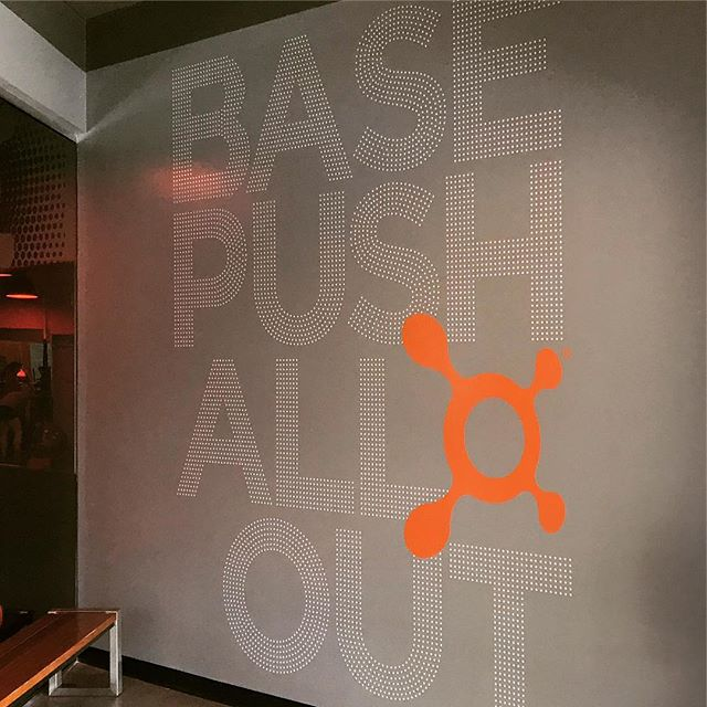 Awesome cut vinyl wall for orange theory!  #signs #cutvinylgraphics #signinstallation #atlanta