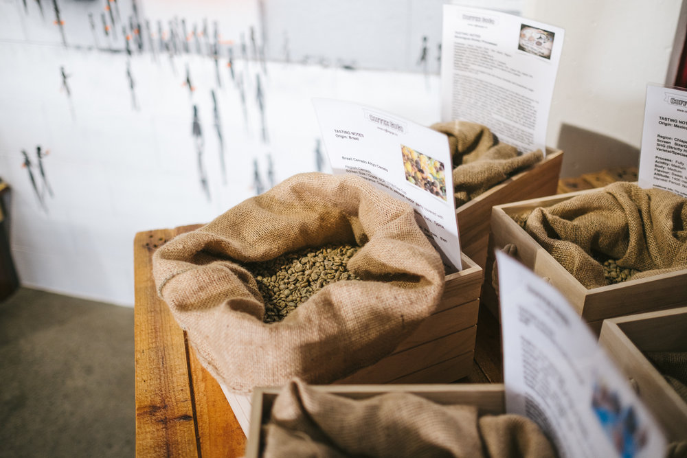 Roasters Table - You'll find our current selection of green beans here waiting for you to place an order of 'on demand roasting', just for you. Make your choice based on our advice to suit your brew method.