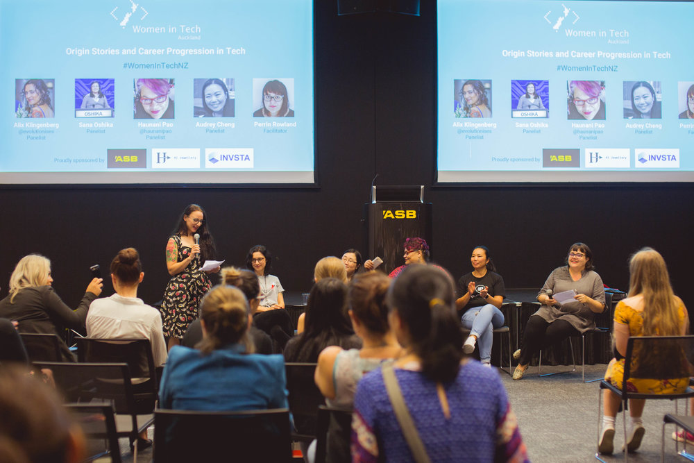Logo in action at a Women in Tech event.