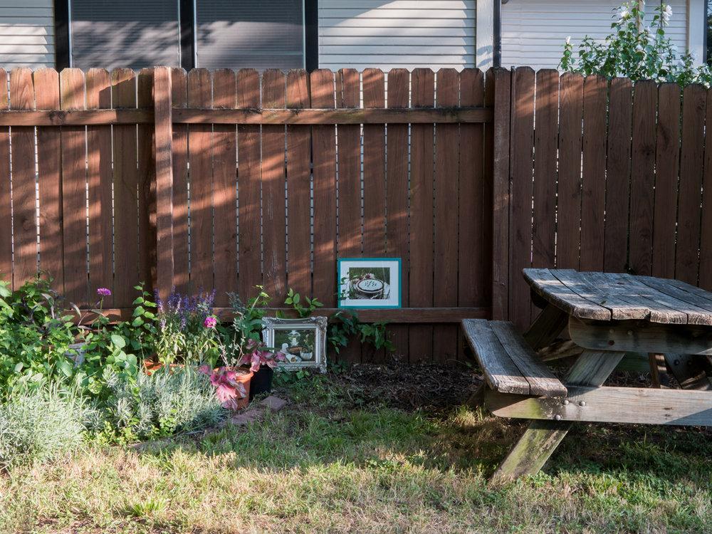 "Rachel Stuckey     Grasshopper pie on plush lawn   found calendar page, metallic frame  11x14"", 2018   Peach cobbler in English countryside   found calendar page, metallic frame  11x16"", 2018"