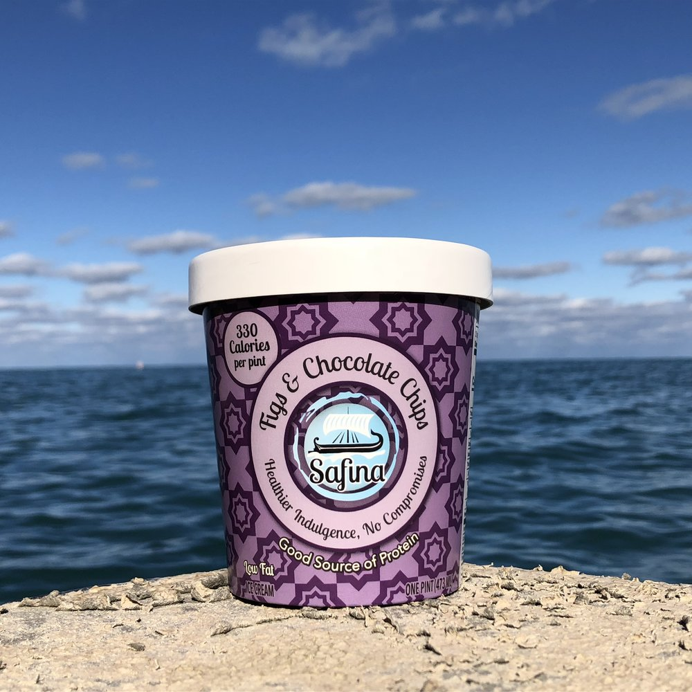 Figs and Chocolate Chips   A nuanced combination that unites the velvety fig flavor with decadent semi-sweet chocolate chips. The complexity of the texture unravels into a luscious and original experience as you enjoy the pint.
