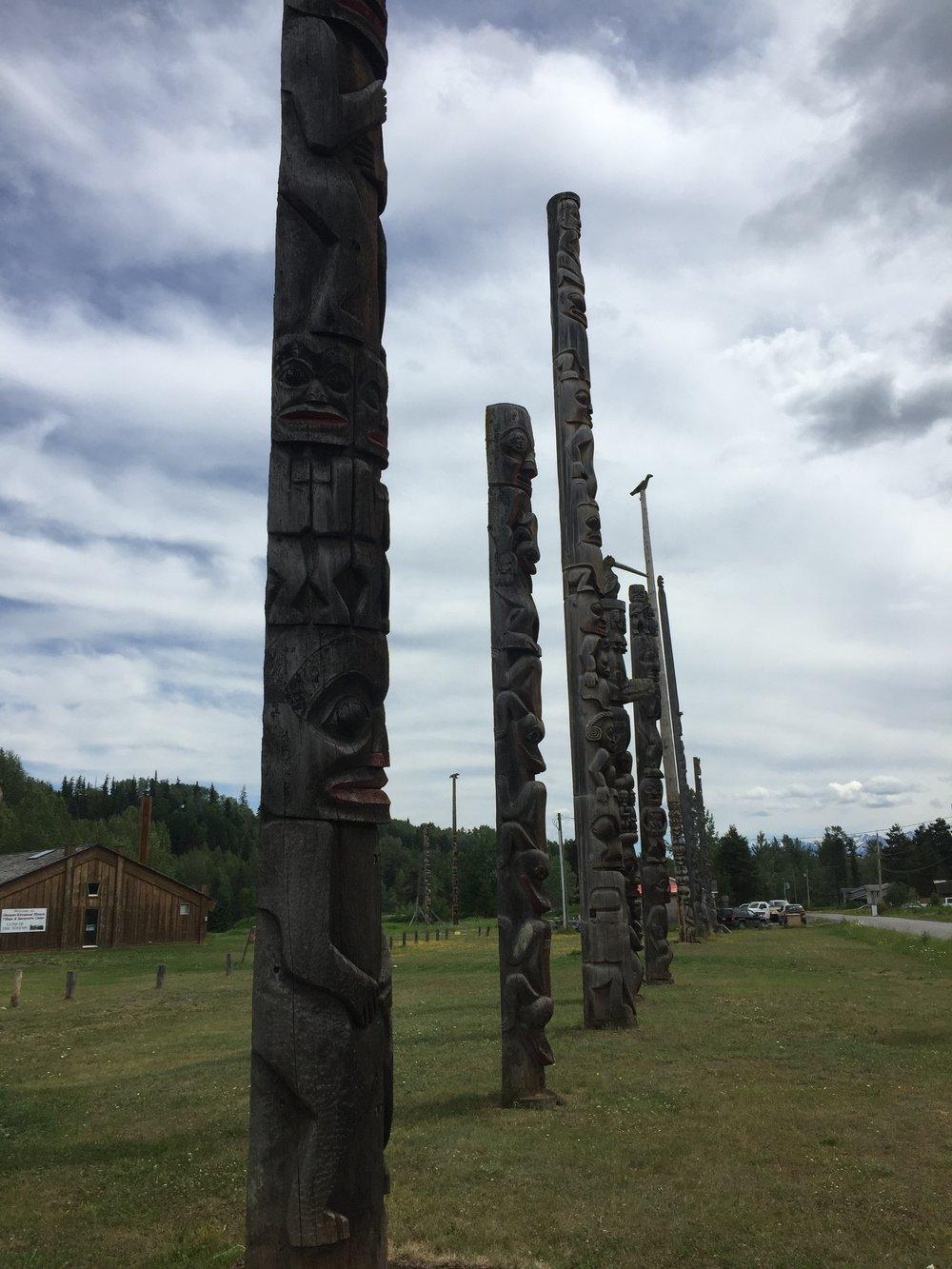 Totem poles in Gitanyow.