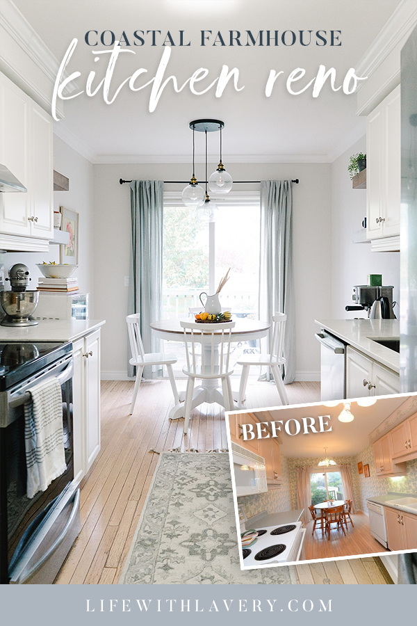 Coastal Farmhouse Kitchen Before and After White Cabinet Stainless Steel Flipper Subway Tile Benjamin Moore DIY