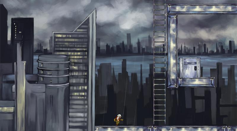 The present. A grimy, desaturated cityscape.