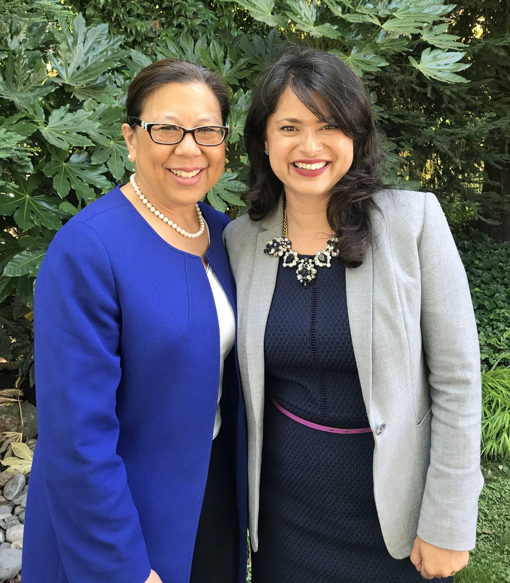 California State Controller Betty Yee (left) endorses Priya Mathur (right) for the CalPERS Board.