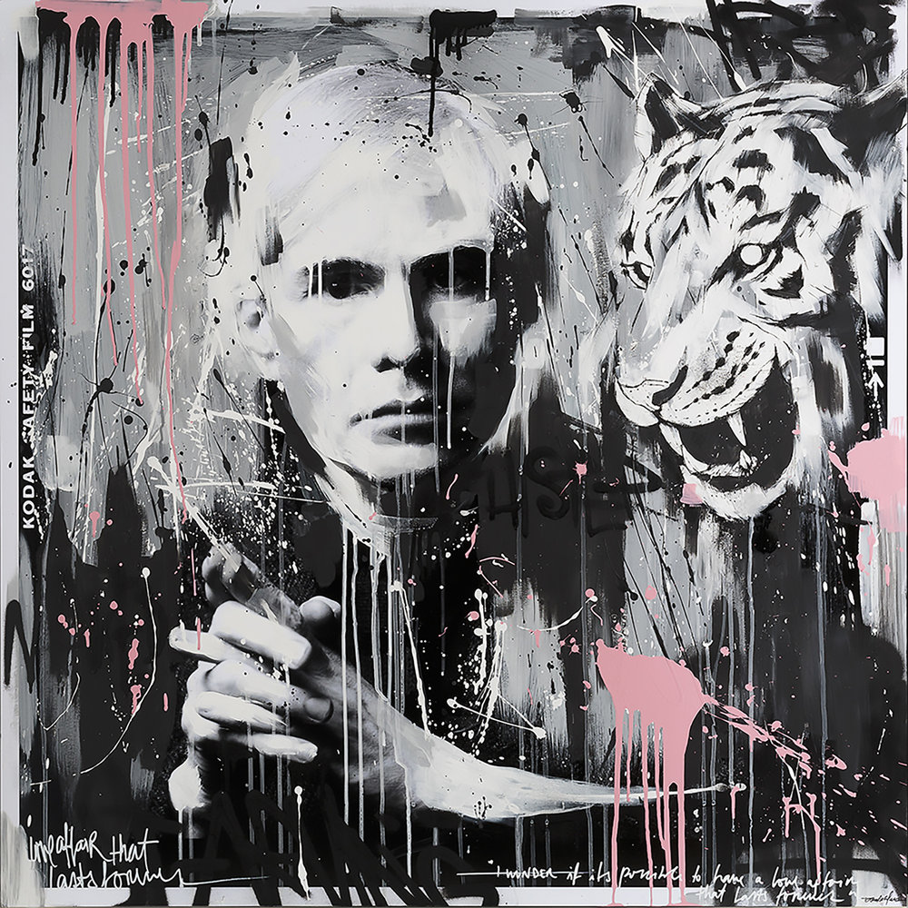 Tiger Warhol  mixed media 27 x 27 collaboration: Karen Bystedt x Tamara Alves