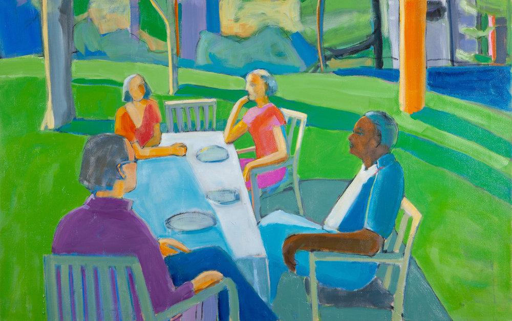 On the Terrace,  36 x 60, oil on canvas
