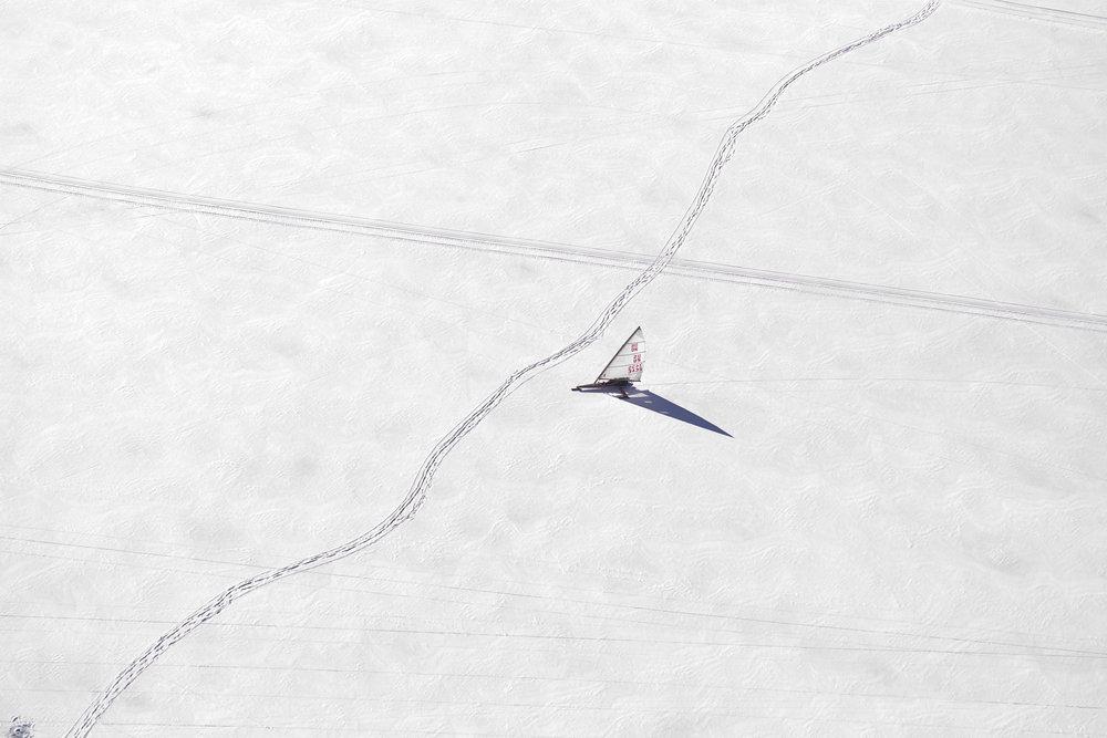 Ice Boat and Tracks - Sodus Bay, New York, USA 2008