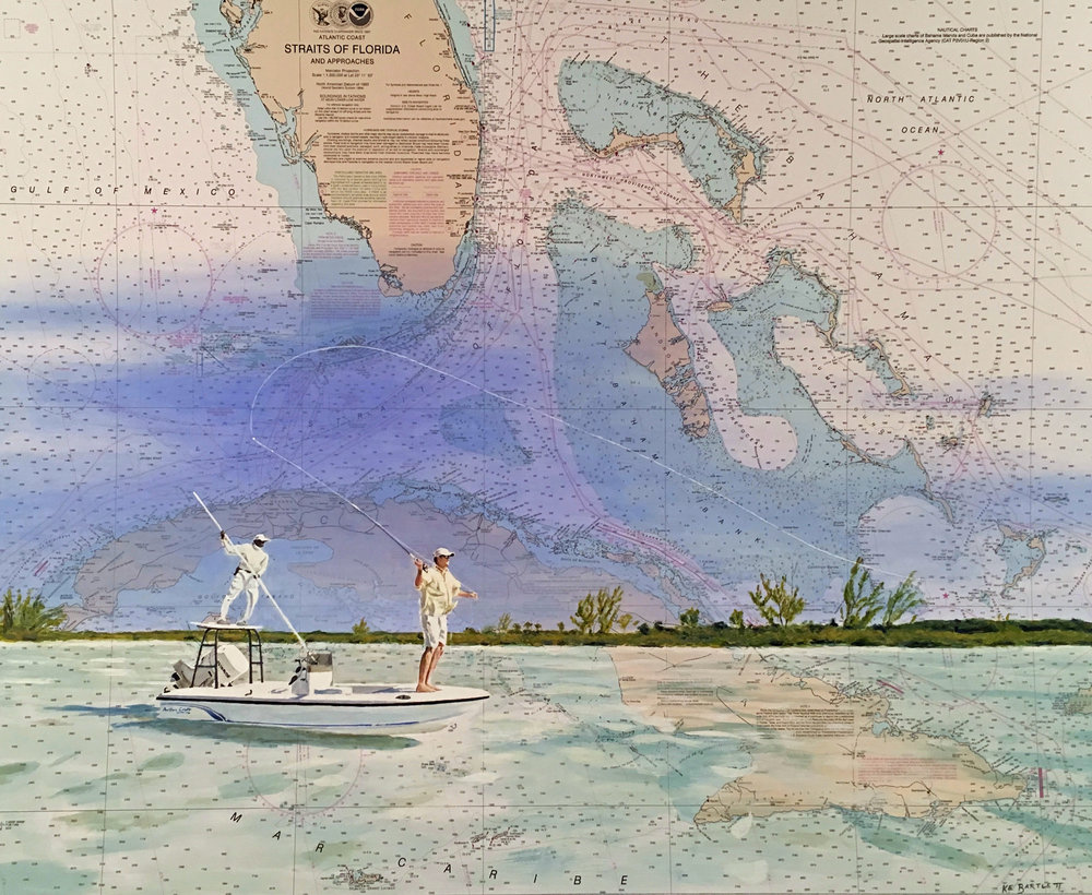 "Bone fishing, Straits of Florida, Acrylic, 36"" x 45"""