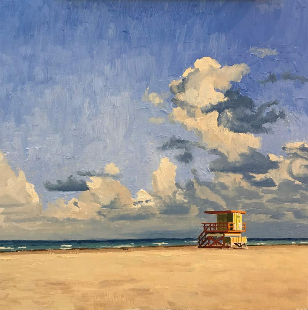 Lifeguard Stand  oil on canvas 10 x 10 inches