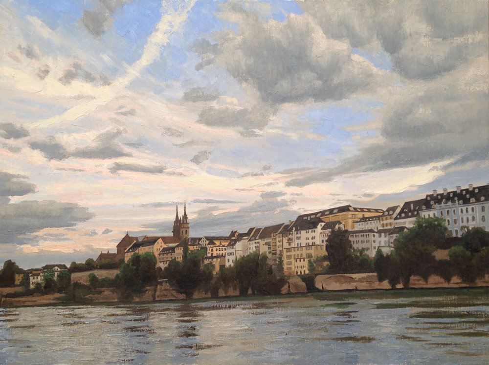 On the Rhine  oil on canvas 18 x 24 inches