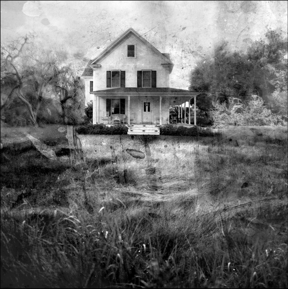 Eastern Shore House  mixed media on panel 48 x 48 inches