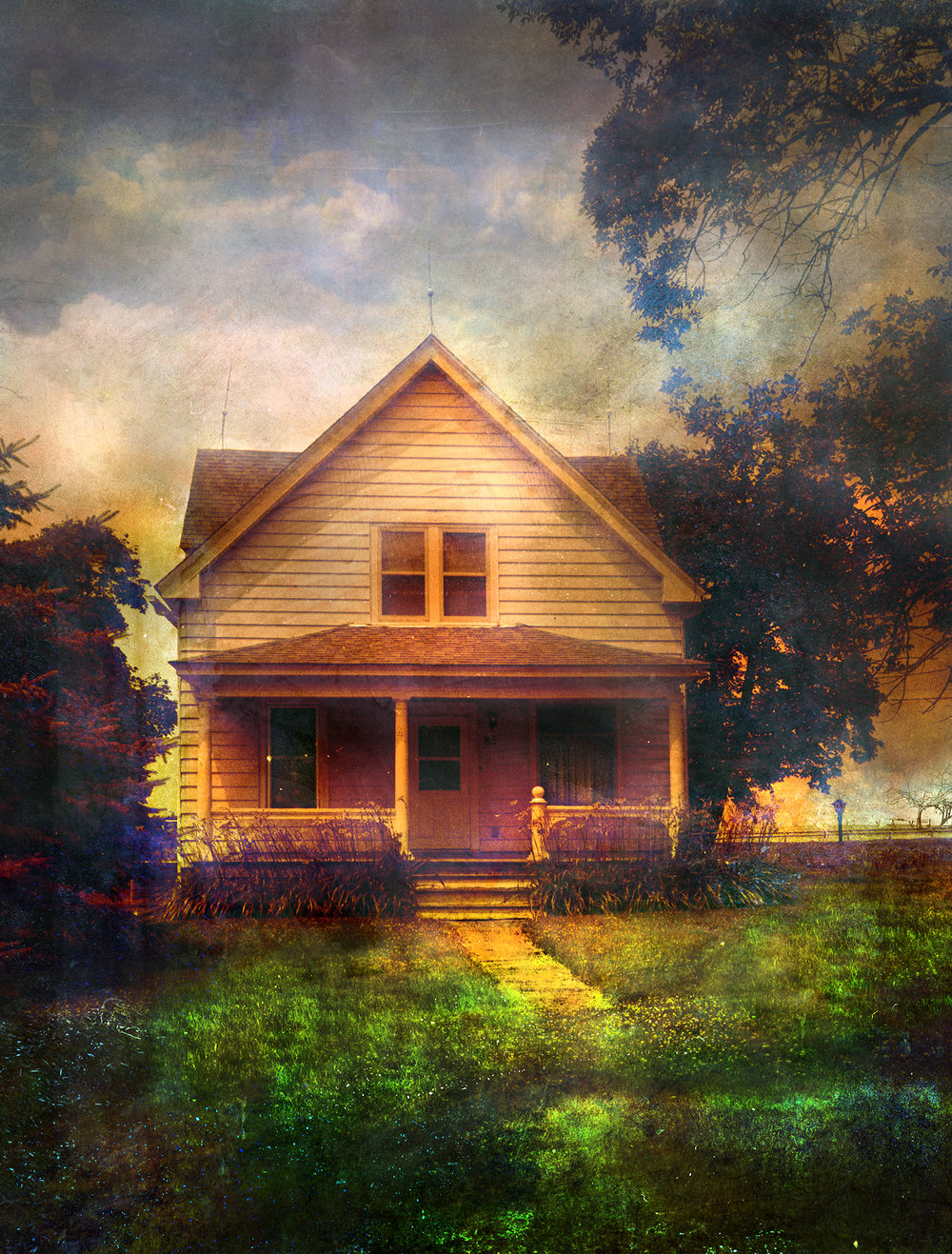 Iowa House In Morning Light  mixed media on panel 65 x 48 inches