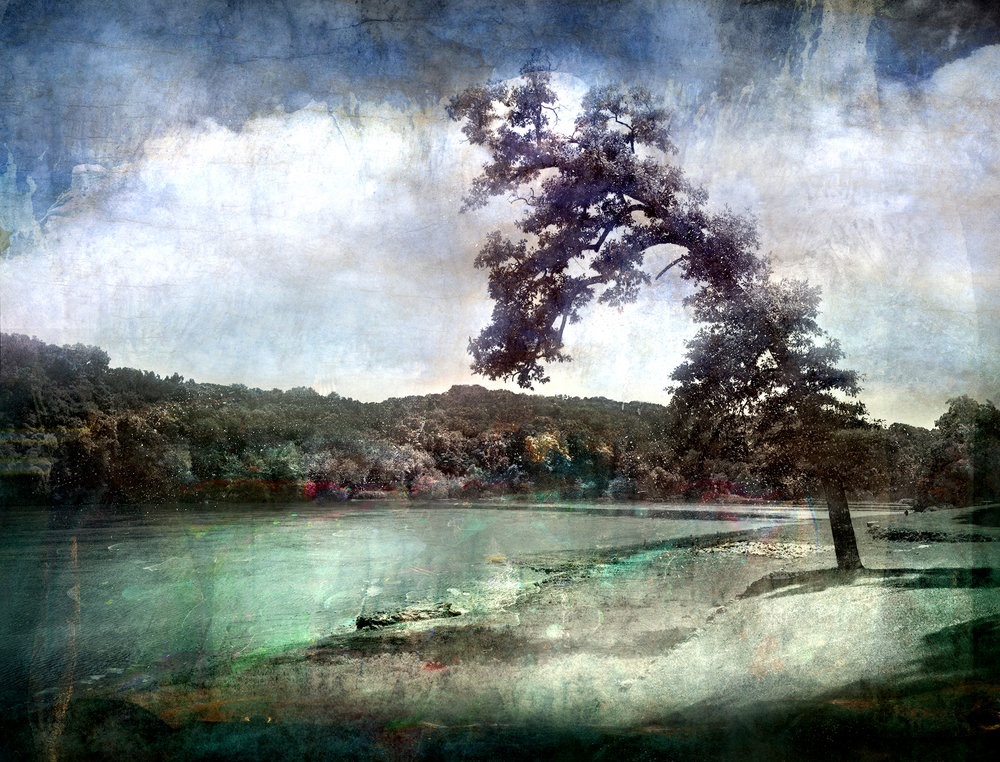 Landscape at Cedar River  mixed media on panel 48 x 63 inches