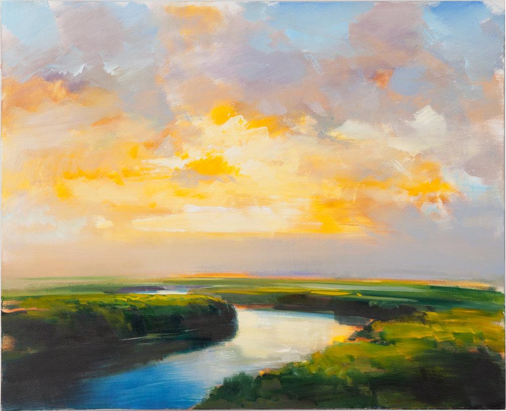 Warm Horizon Haze  oil on canvas 44 x 54 inches