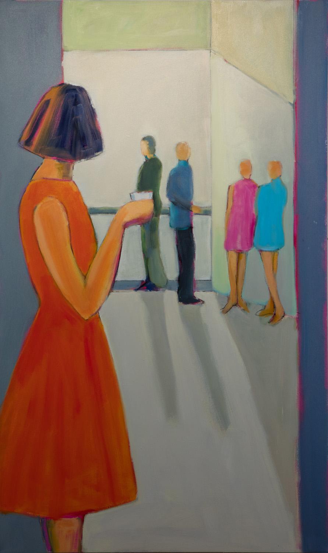 Sarah Benham -  The Balcony   Oil on Canvas, 60 x 36 inches