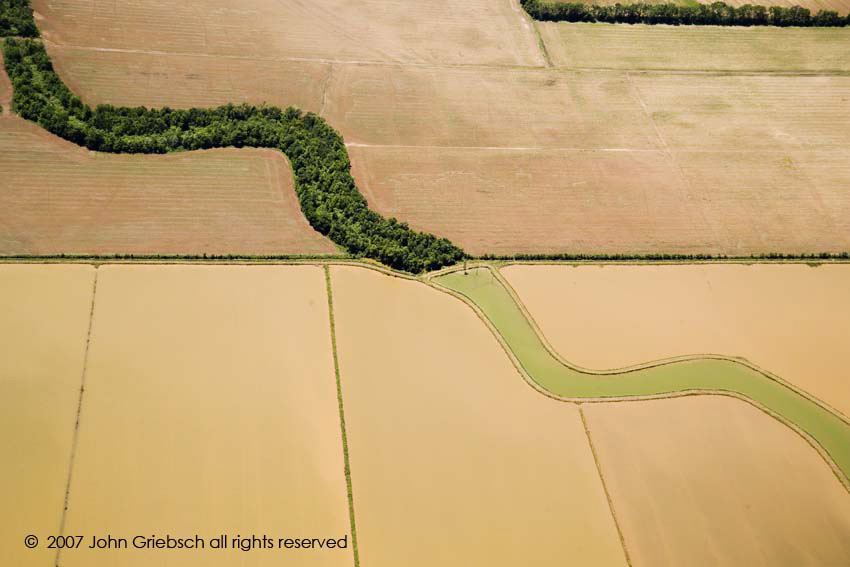 Water Course and Plowed Fields, Northern Louisiana