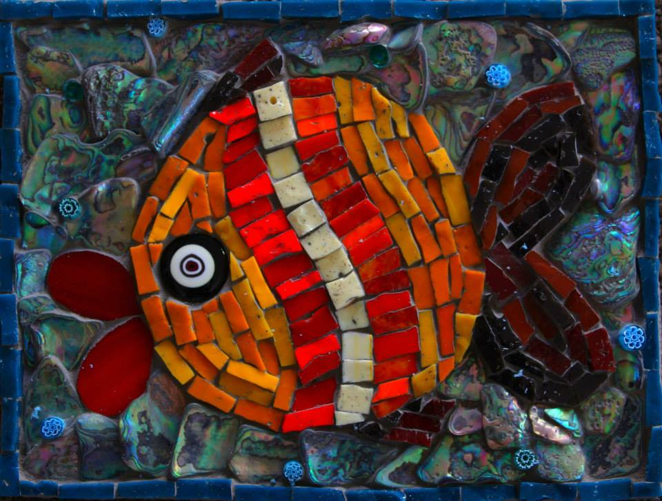 Smalti Fish (Smalti, Stained Glass, Glass Fusion, Paua Shell, Millefiori)