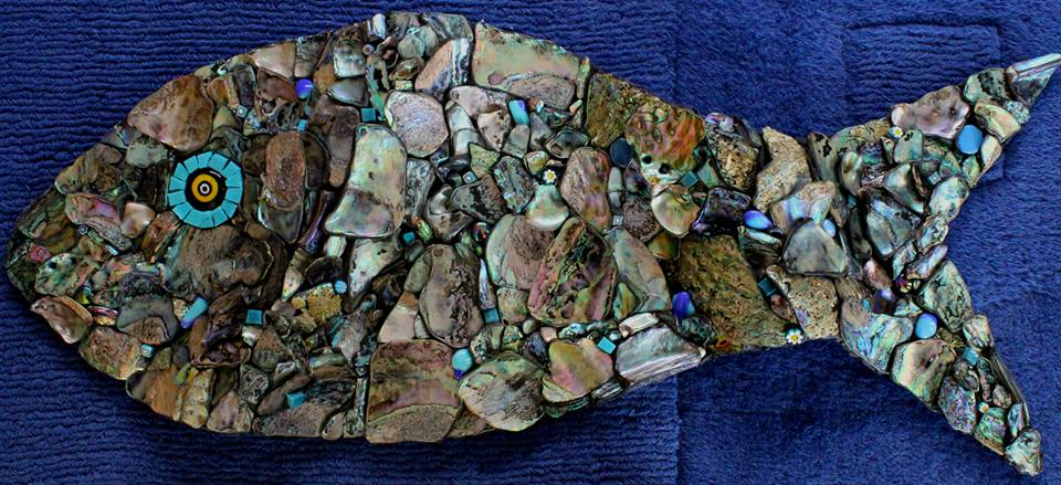 Paua Wave Fish (Glass Fusions, Millefiori, Paua Shell, Smalti)