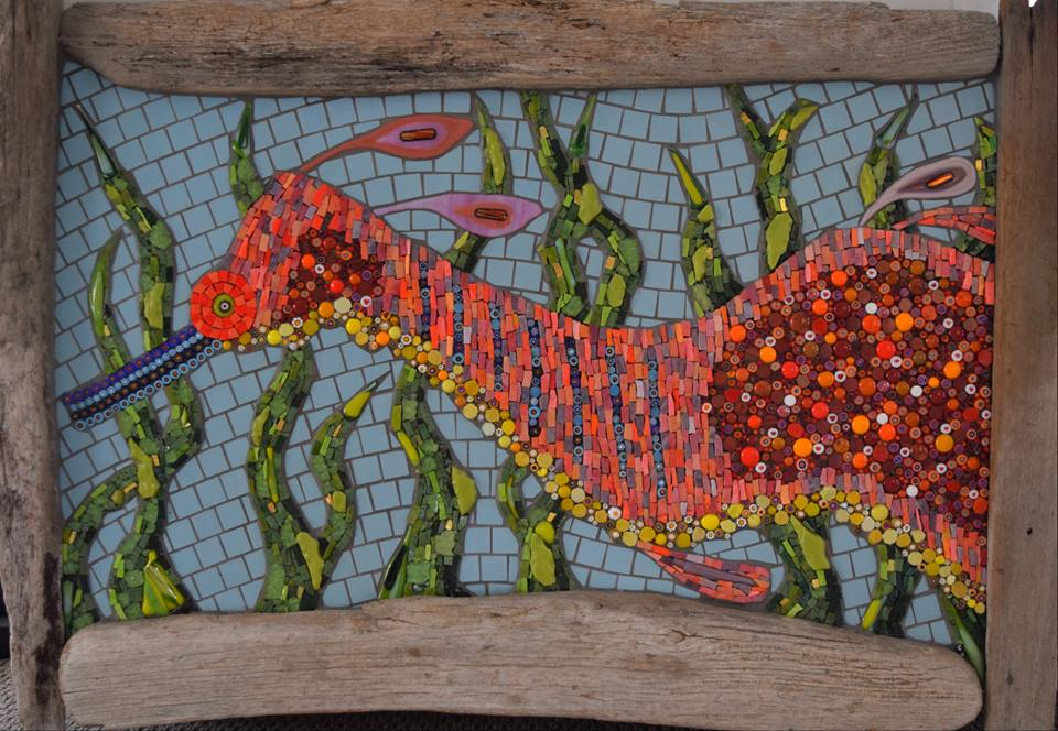 Weedy Sea Dragon with Driftwood Frame (Commission) (Smalti, Glass Fusions, Smalti Beads, Millefiori, Tempered Glass, Gold Smalti, Cinca Porcelain)