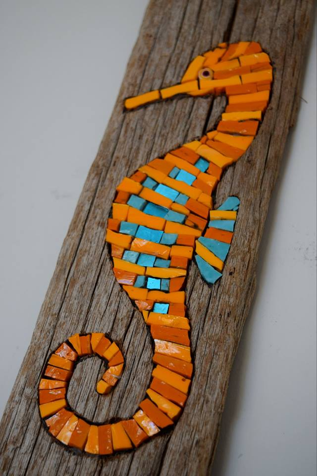 Seahorse In Driftwood (Commission) (Smalti, Millefiori, Gold Smalti)