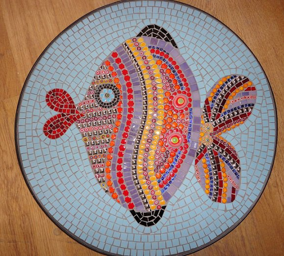 Funky Fish (Ceramic, Smalti, Glass Tiles, Millefiori, Cinca Porcelain)