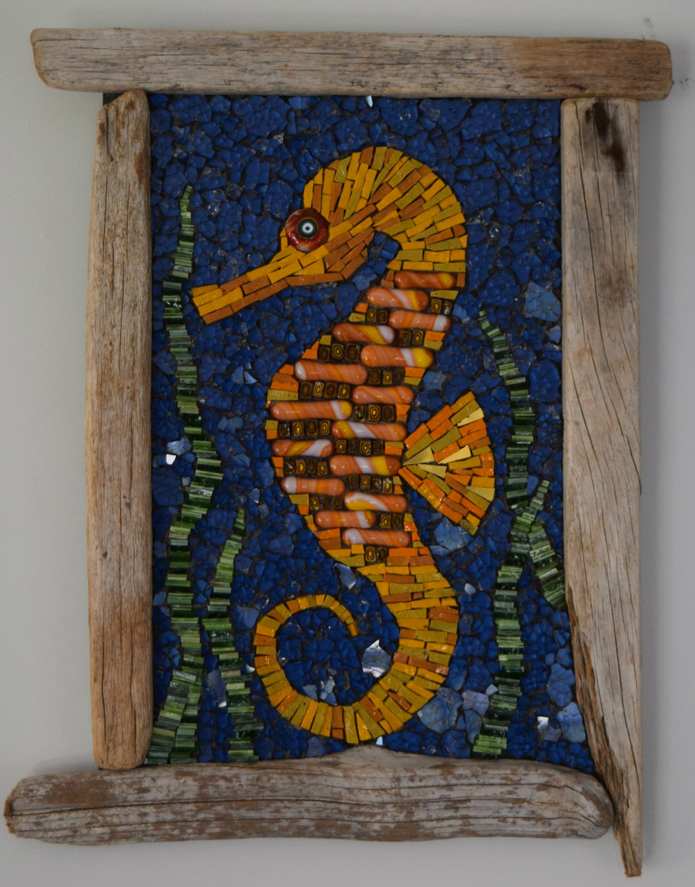 Seahorse with Drift Frame (Glass Fusions, Smalti, Millefiori, Gold Smalti, Stained Glass, tempered Glass)