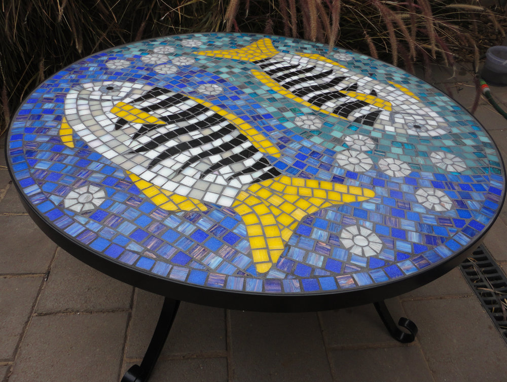 Zebra Fish Coffee Table (Commission) (Glass Tiles)
