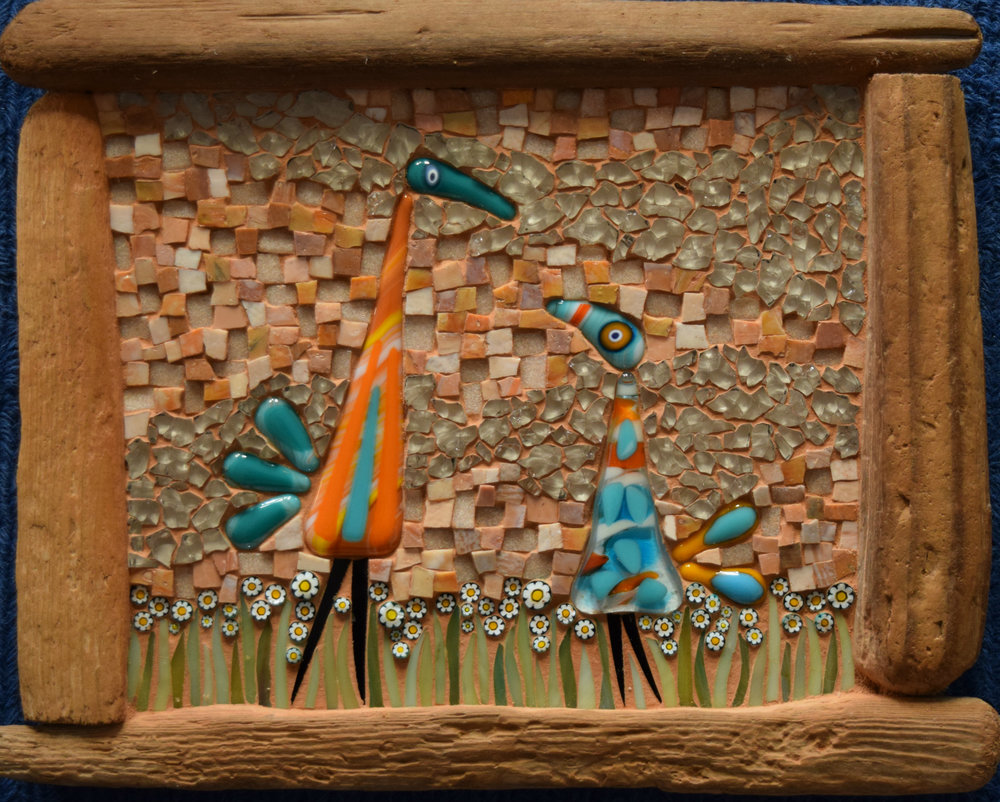 Two Birdies with Driftwood Frame (Smalti, Millefiori, Glass Fusions, Stained Glass, Tempered Glass)