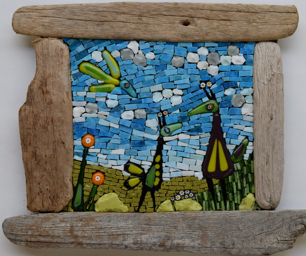 Birdies with Driftwood Frame (Smalti, Glass Fusions, Millefiori, Stained Glass)