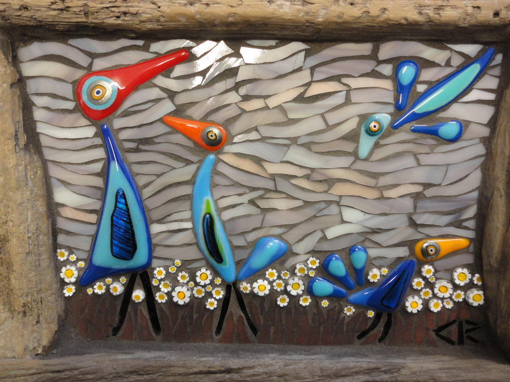 Flock of Misfits Series with Driftwood Frames (Glass Fusions, Stained Glass, Millefiori)