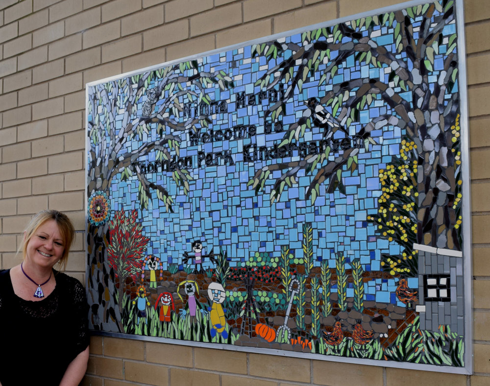 "Thorndon Park Kindergarten ""Welcome"" mosaic 2015"