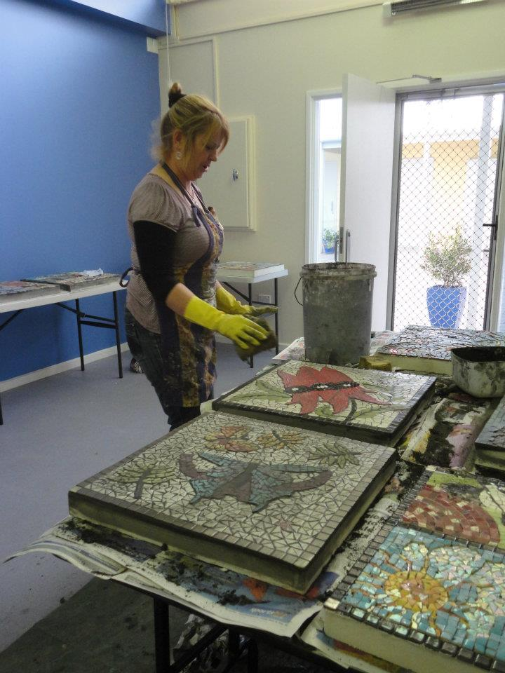 Seaford Community Centre Mosaics, grouting day