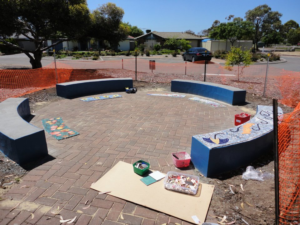 Installation of Seaford Talking Circle Four Seasons Mosaics