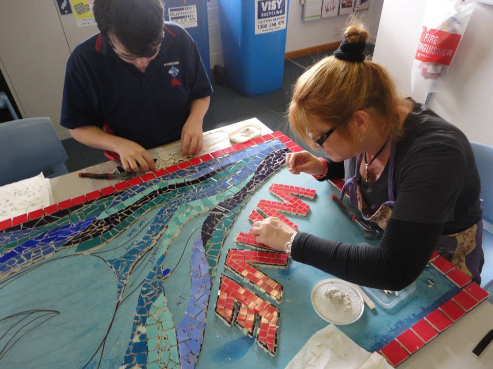 Working on WAVE mosaic with student volunteer