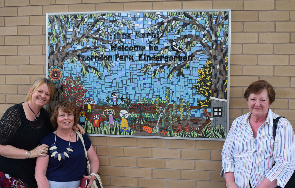 Thorndon Park Kindergarten Mosaic (pictured with my wonderful volunteers)