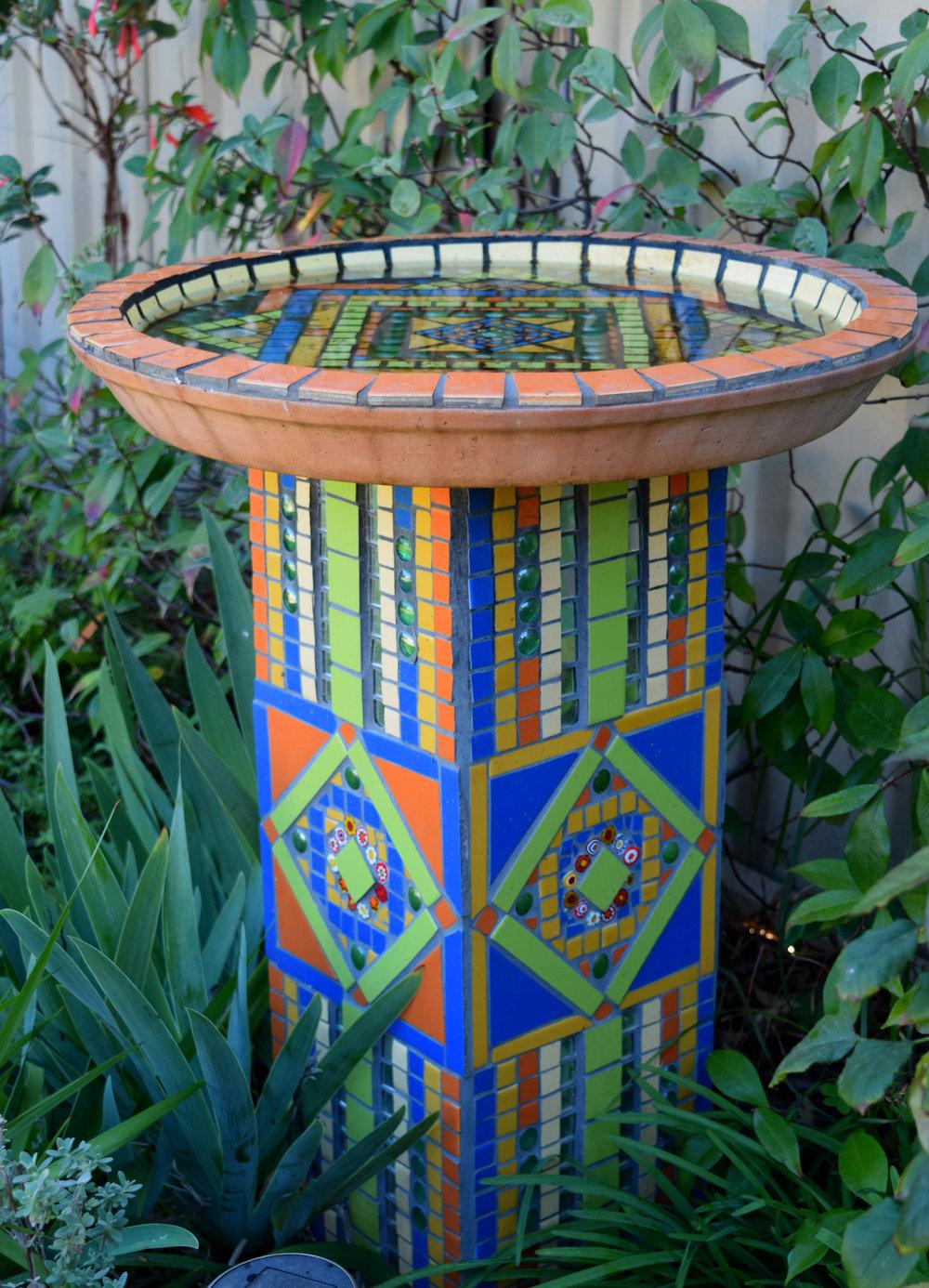 Geo Birdbath (Ceramic, Mirror, Millefiori)