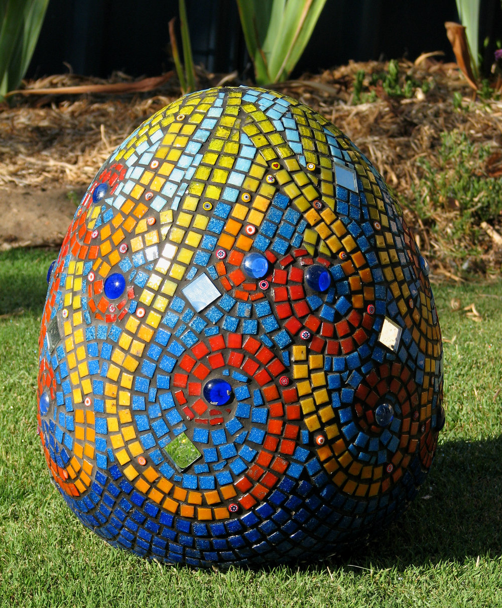 Circus Egg (Glass Tiles, Mirror, Millefiori)
